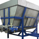feed hopper containing contaminated plastics