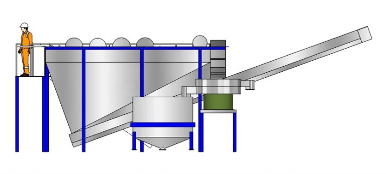 drawing of a feed hopper installed at a plastic recycling plant